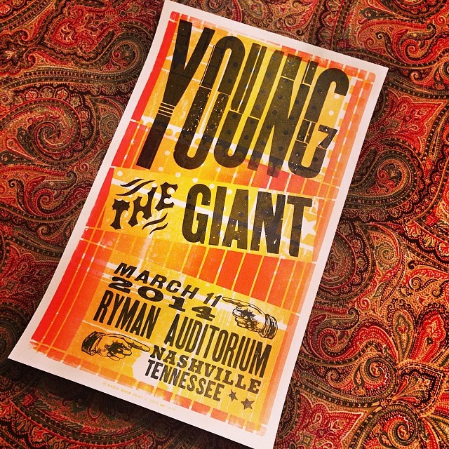 Hatch Show Print from last night's Young the Giant concert @TheRyman. Those guys are the real deal and put on a great show.