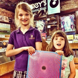 "Just took the girls to @Grimeys to pick up a vinyl copy of ""Turn Blue,"" the new album from The Black Keys. Kate was very concerned there wouldn't be any copies left. She was so surprised when she saw it that she counted all the copies in the store. There were 50....well 49 now :-)"