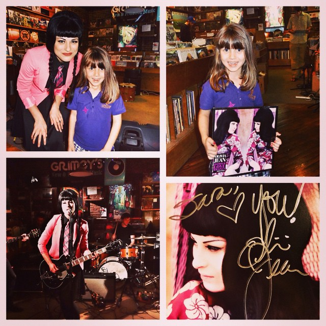 "Sara & I had a great time tonight at Olivia Jean's in-store concert @Grimeys. Olivia Jean was so nice to Sara and even told her that she was ""the coolest audience member I've ever had!"" #family #music"