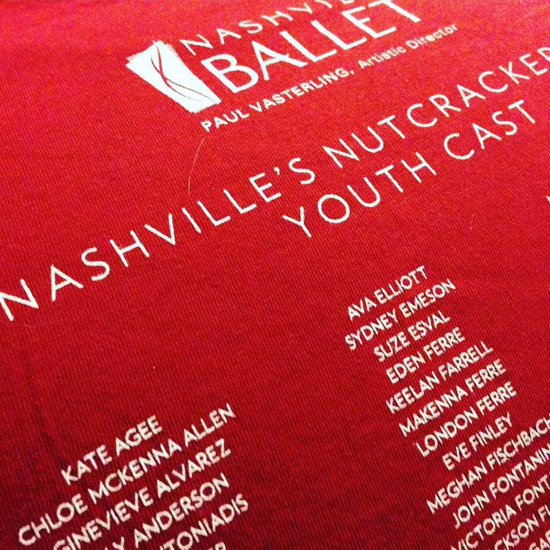 Always love seeing Kate's name on these Nashville's Nutcracker Youth Cast t-shirts from Nasville Ballet. Opening show is on Saturday!! #family #ballet