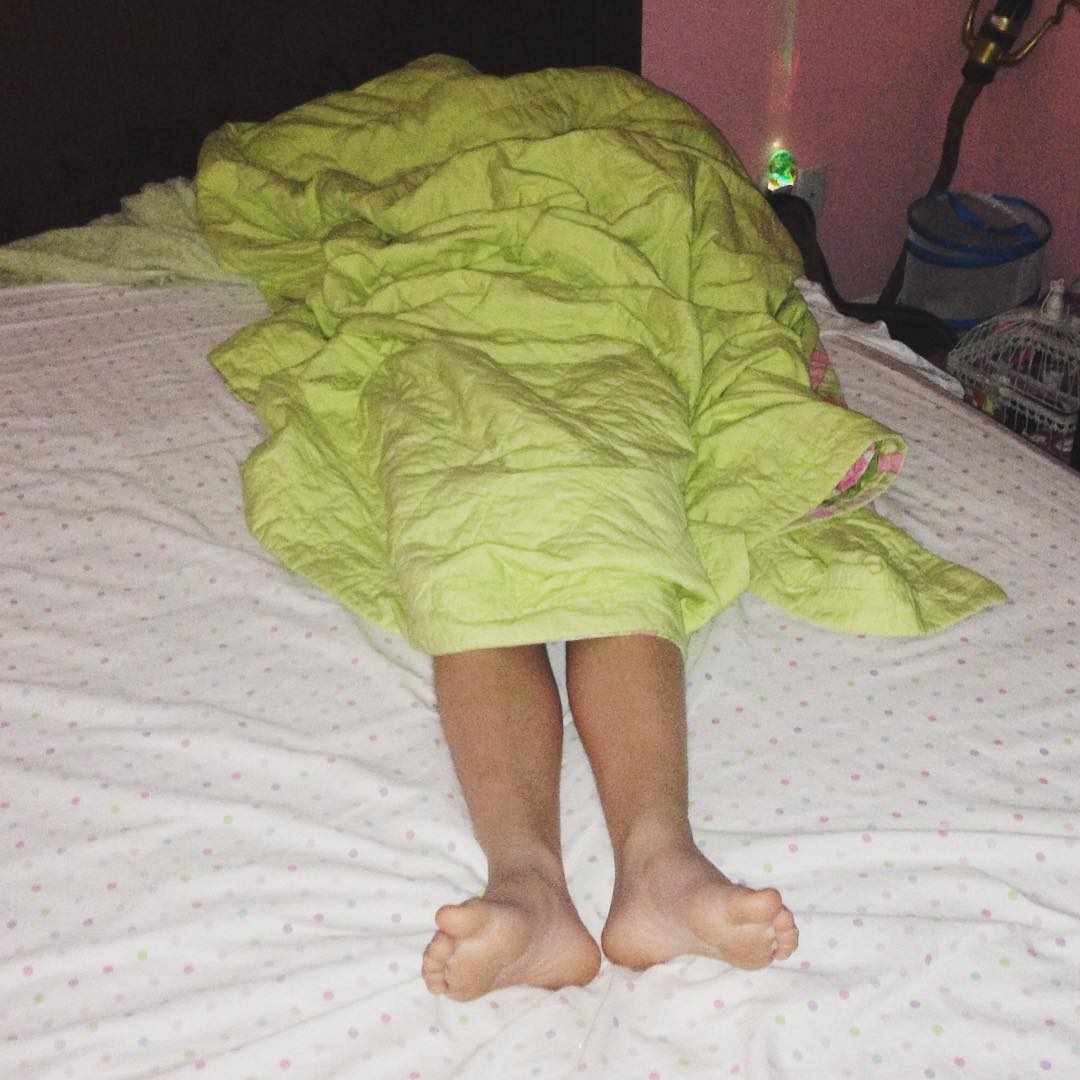 This is what I found when I went in to wake up Kate this morning. Unfortunately, she was quite under the weather when she emerged from this footless cocoon. Glad we made it trough Nutcracker yesterday before it hit. #family #ballet
