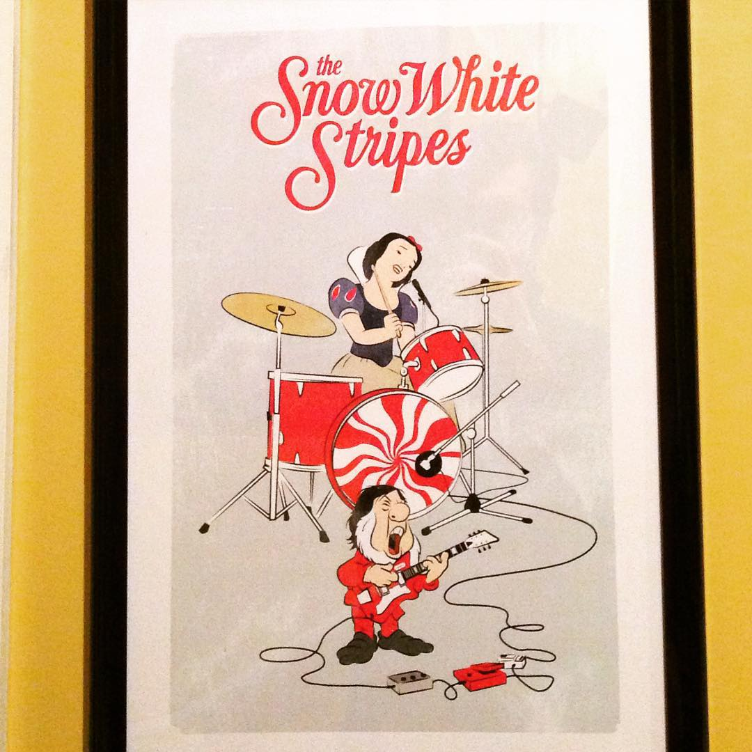 Also picked up this mashup poster @Grimeys Too today. Since #TheWhiteStripes is my 2nd favorite all-time band (behind #TheBeatles of course), we had to have this for our remodeled rec room. #family