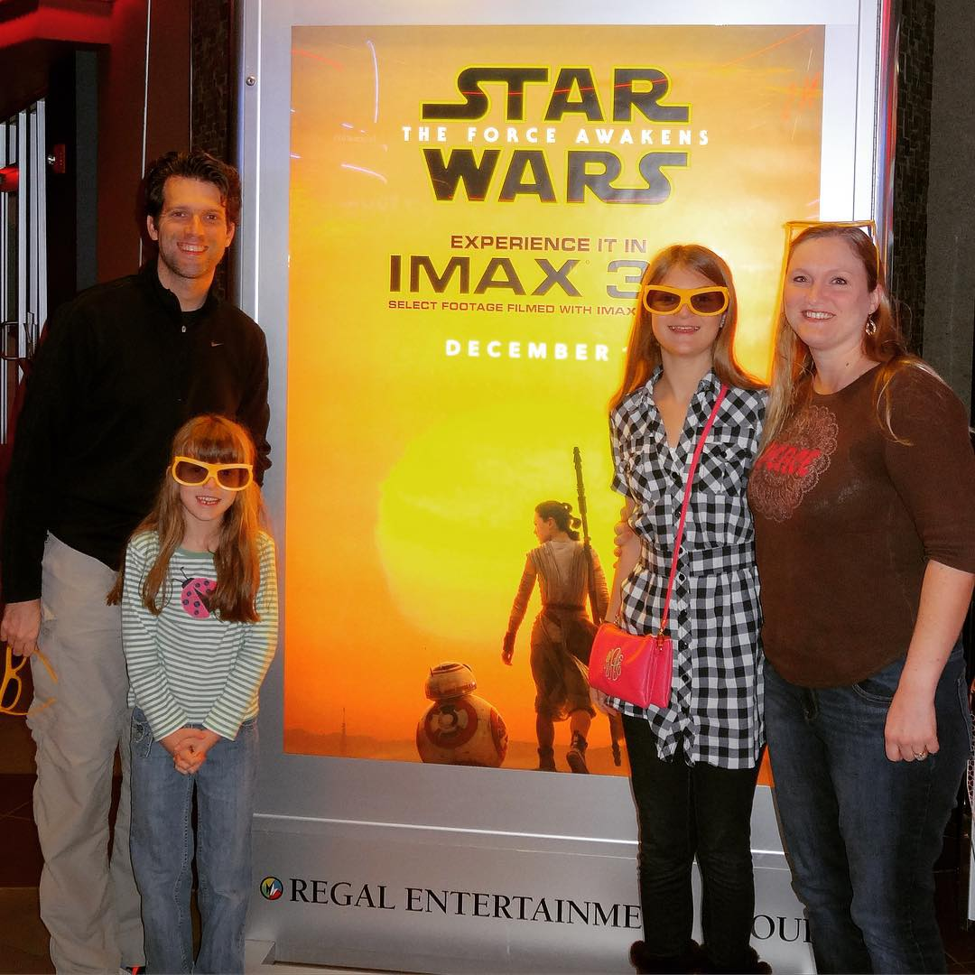 Seeing The Force Awakens again on this last day of 2015 with my favorite people. #starwars #family