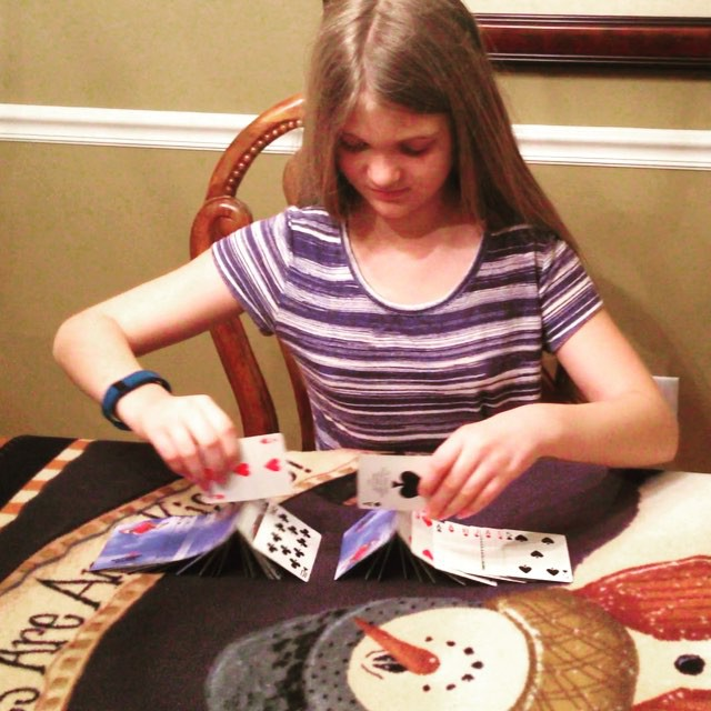 Kate with the no-hand flip+ card trick. #cardshark #family