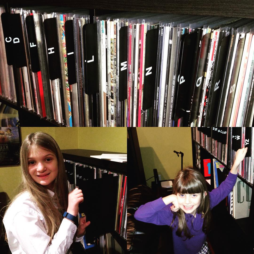 These cuties are helping organize our #vinyl record collection with some new dividers. #music