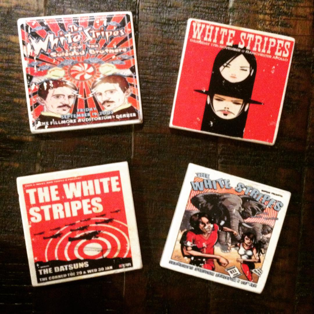 The latest addition to our remodeled, music & movie themed bonus room ... White Stripes concert poster coasters!! #music #TheWhiteStripes