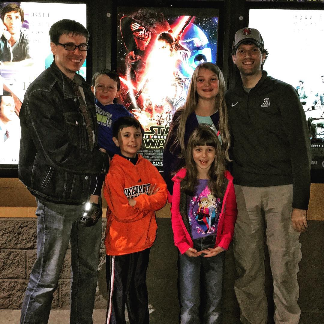 Enjoyable time seeing Star Wars: The Force Awakens with the Lehman's this afternoon. #family