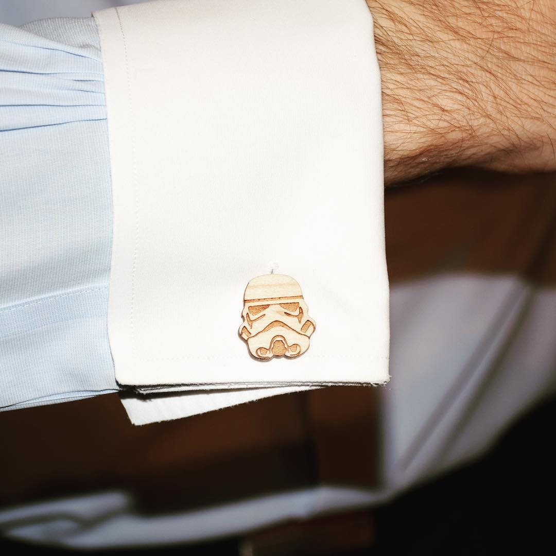 My wife gave me that's awesome Stormtrooper cuff links for Valentine's Day, which is fabulous gift for a #StarWars geek who also likes to dress up. #fashion