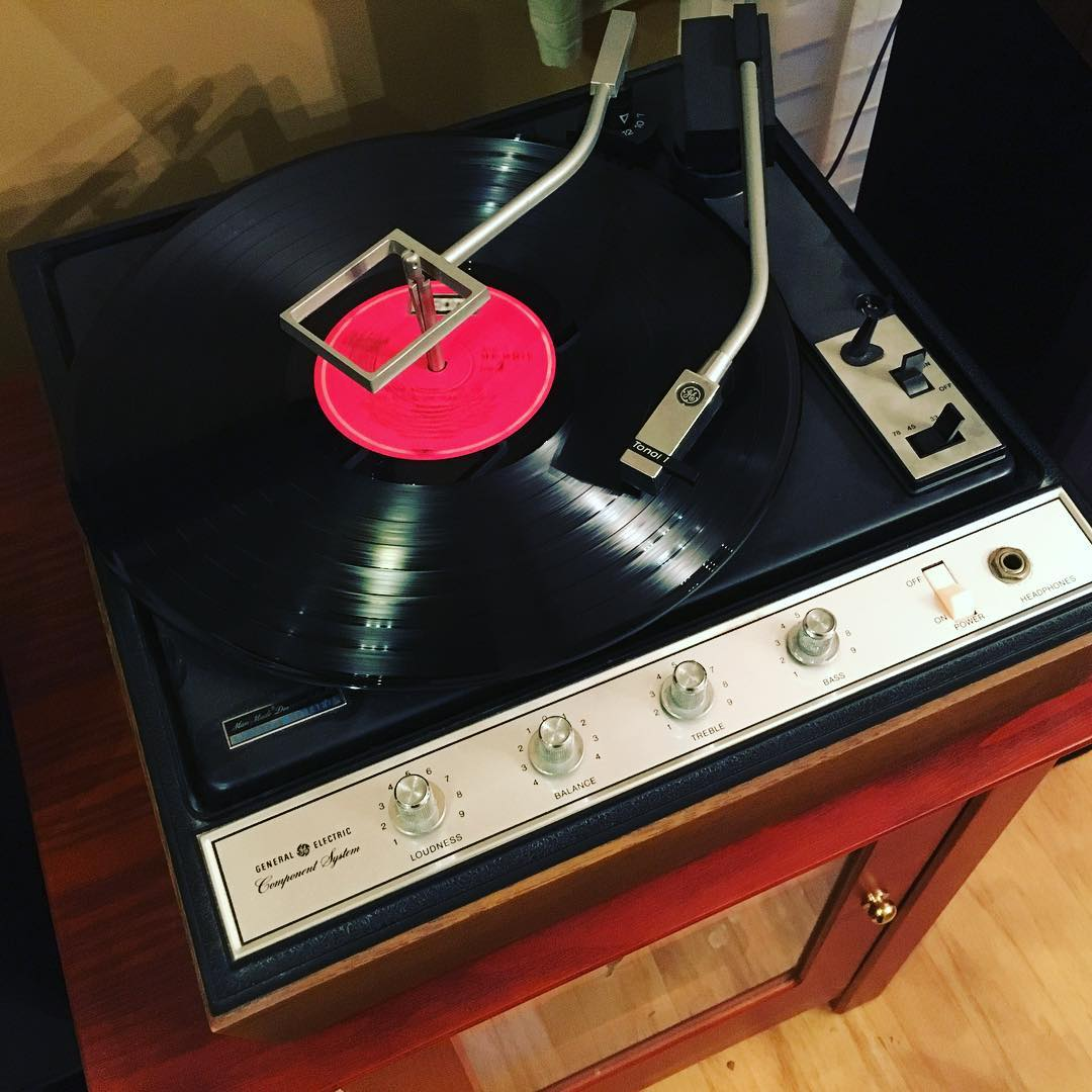 Last night I got my grandmother's old GE turntable working...tonight we were serenaded during dinner by a little Tom Jones from 1967. #vinyl #nowspinning #music