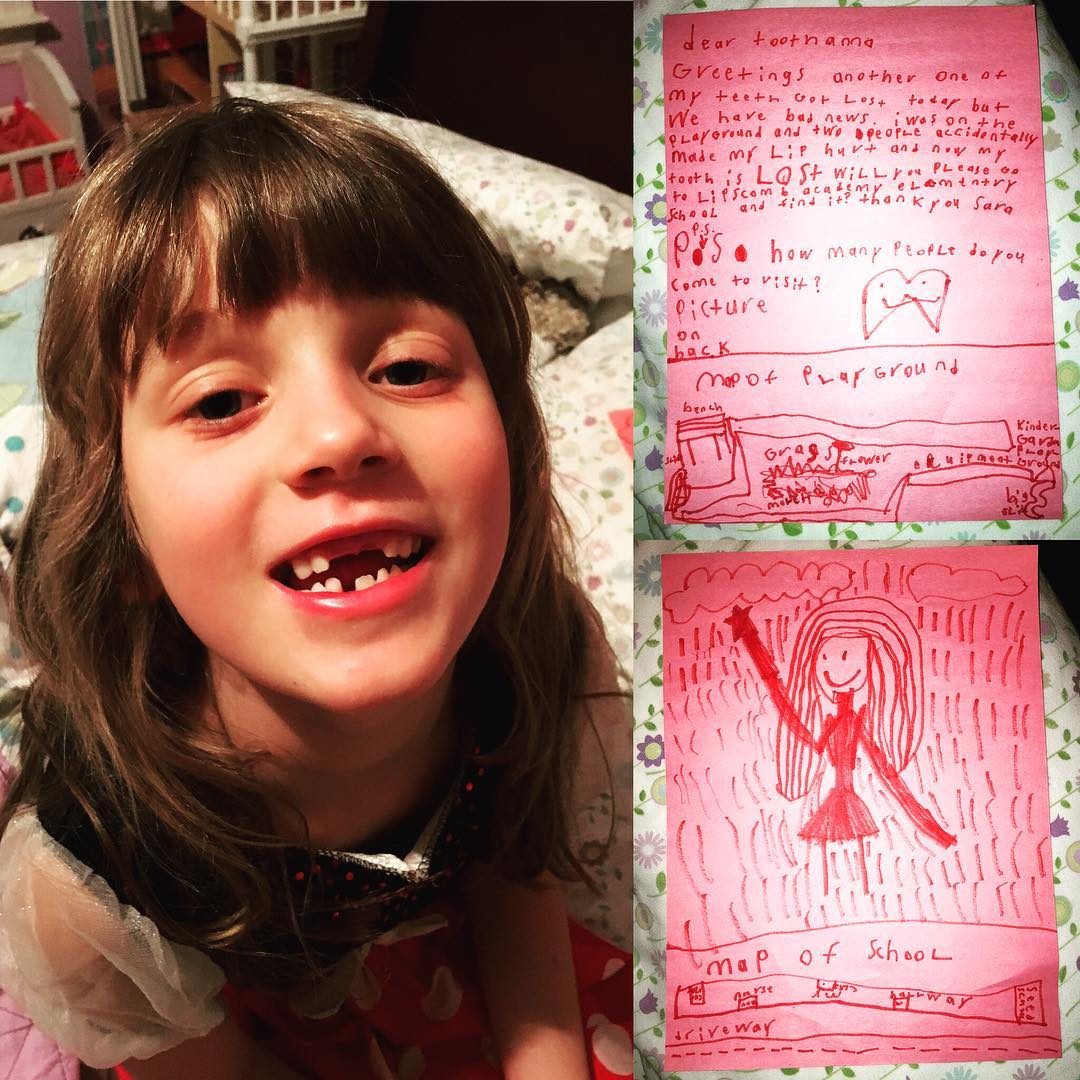 Another baby tooth lost for my little gapped-tooth sweetie. It was already loose, but a playground collision expedited the process this time. She decided to explain it to the tooth fairy in a very detailed note and asked her if she would go to the school playground and look for it. #family