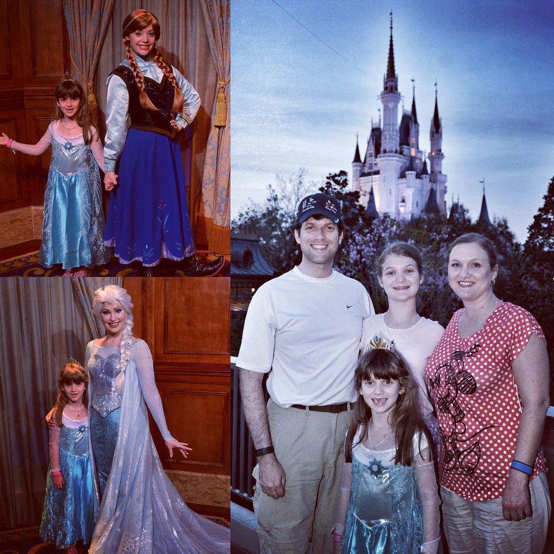 Nighttime at Magic Kingdom on Day 4. Love that we got Sara an Elsa / Elsa and Anna / Elsa picture. #Disney #family #travel