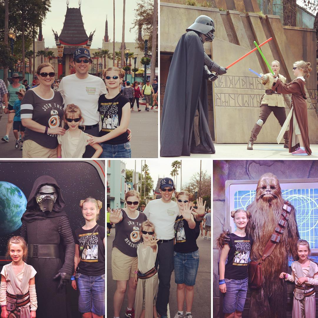 "Day 5 was a #StarWars kinda day at #Disney Hollywood Studios with ""Baby Rey"" Sara, ""Princess Leia"" Kate, and ""BB-8"" Mama. Love it!!!"