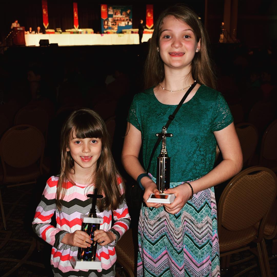 Very proud of Kate and Sara for being recognized with Centurion of Scripture awards at Lads to Leaders Convention, because they memorized 100 verses. #faith #family