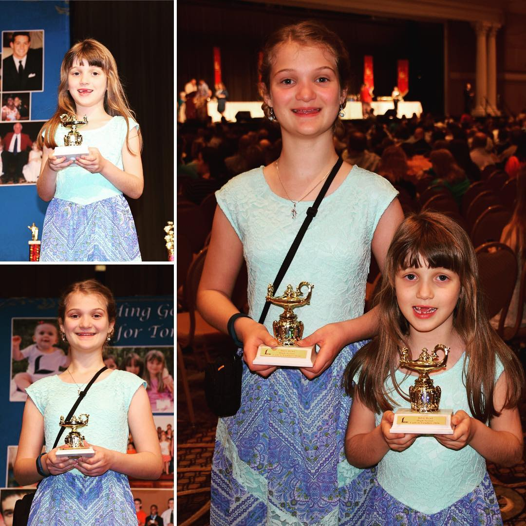Kate and Sara were both recognized as being in the top 10 scores for Bible Bowl individual test in their age groups at last night's Lads to Leaders Convention awards ceremony. #faith #family