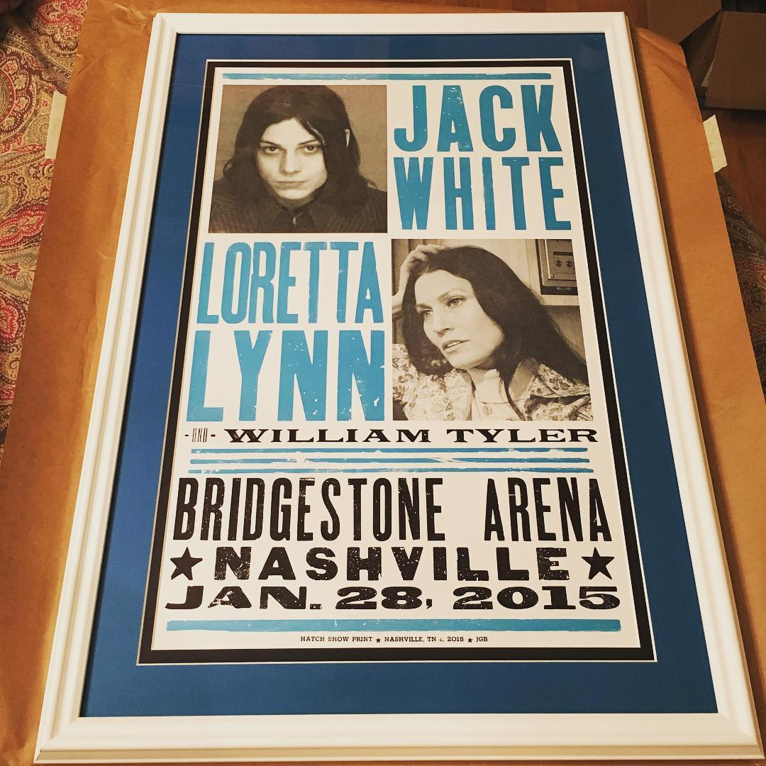 This is the only Hatch Show Print in our collection that we've ever had professionally framed and it turned out fantastic! It was an incredible concert last year and I can't want to get this up in our bonus room. #music #JackWhite #LorettaLynn #HatchShowPrint