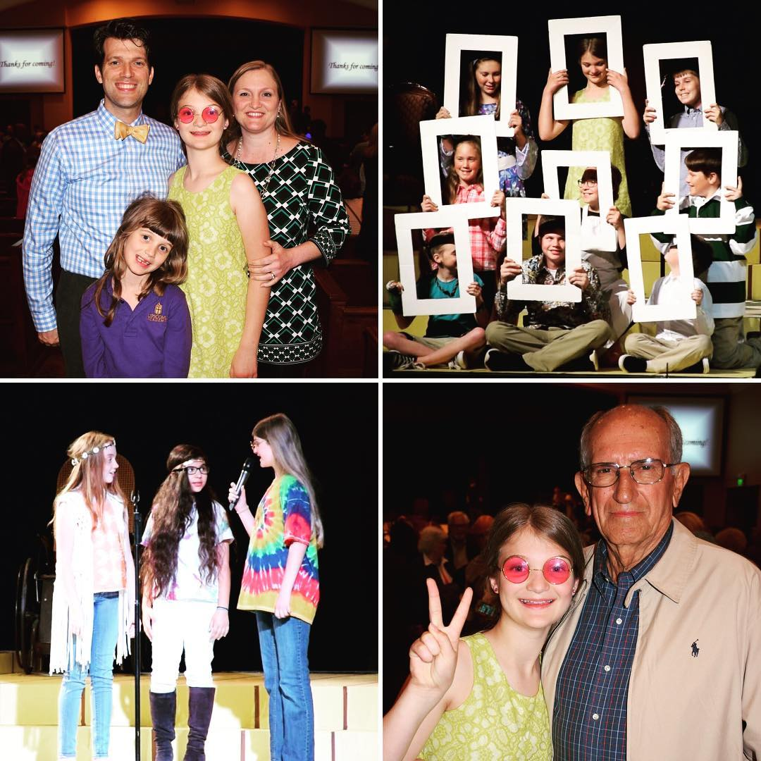 """From last week...Kate in the LAMS 5th Grade Play, """"A Walk Through Time."""" She was a hippie and Mrs Brady from """"The Brady Bunch."""" #family"""