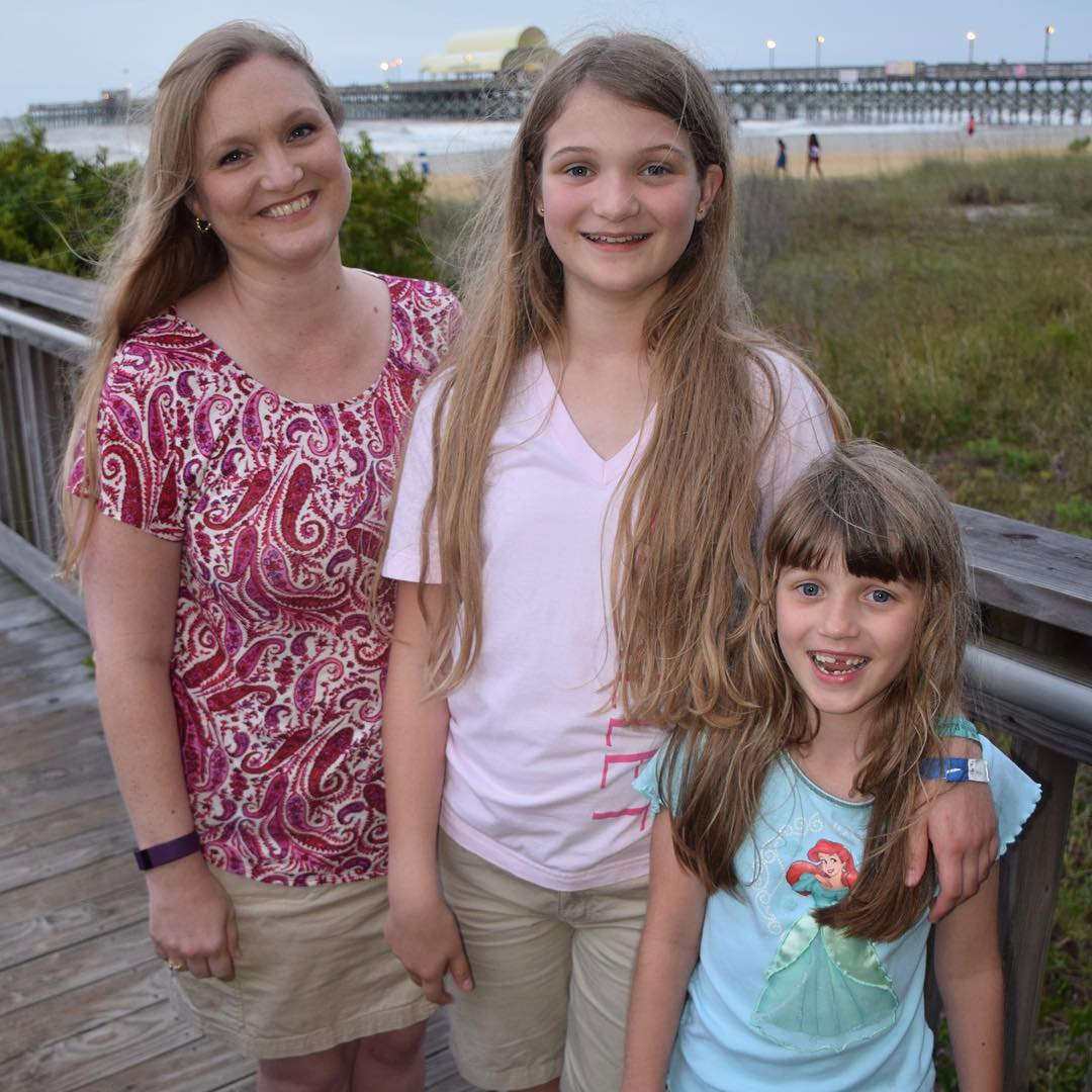 My beautiful girls just before our walk on the beach last night. #family #vacation #nofilter