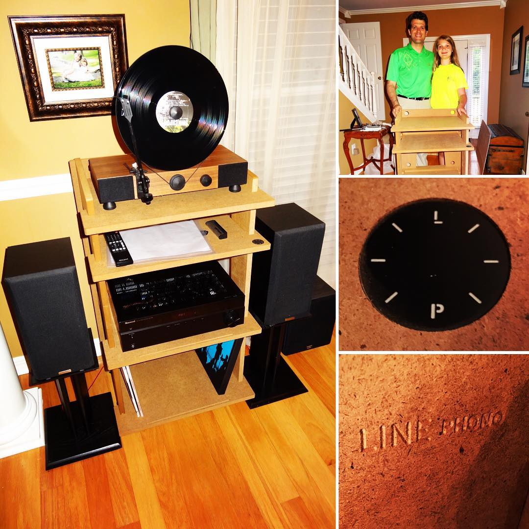 Love my downstairs audio setup. Now have my @gramovox vertical record player and amp sitting on a new #turntable stand from @linephono. #vinyl #music #linephonointhewild #mygramovox