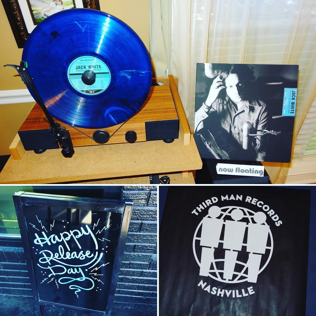 "Limited Edition copy of ""Jack White Acoustic Recordings"" is #nowfloating on my @gramovox floating record player. The blue #vinyl with white and black wisps is available today only at the @thirdmanrecordsofficial storefronts in Nashville and Detroit. This is a great double album! #thirdmanrecords #jackwhiteiii #thewhitestripes #music"