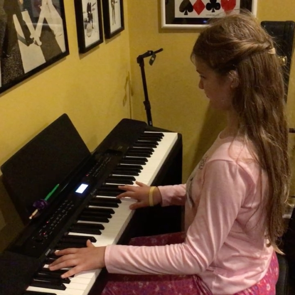 "Short clip of Kate rehearsing ""Linus and Lucy"" for the LAMS Talent Show tomorrow night. Come out to Acuff Chapel at 6:30pm to hear the entire piece and lots of other great performances. #music #family"