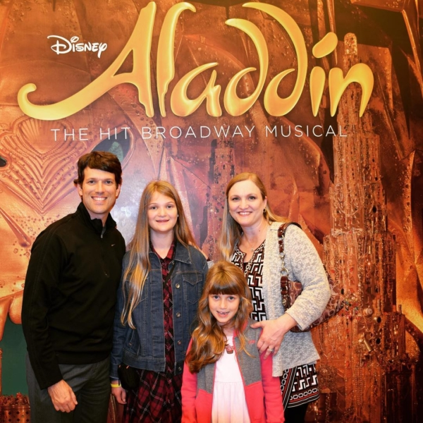 "Took the girls to their first #Broadway show tonight. Olivia and I have been to a lot of Broadway musicals, and ""Aladdin"" was easily one of the most enjoyable. Seeing James Monroe Iglehart's performance as Genie was right there with seeing Idina Menzel as Elfaba in ""Wicked."" #aladdinbroadway #travel #family #nyc"
