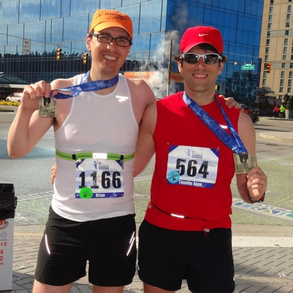 Wouldn't have even made it to the start line had it not been for this guy, who finished his second marathon today. I hung with him for 21 miles, but his young legs whipped me over the last 5 miles for a 3:39 finish. #running #Marathon #indianapolismonumentalmarathon