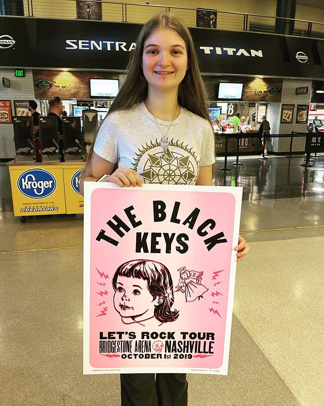 In December 2014 I brought Kate to see @theblackkeys at Bridgestone, which was her first ever concert. Almost 5 years, and dozens of concerts later, we return to see the Black Keys again! #letsrock #hatchshowprint #theblackkeys @hatchshowprint