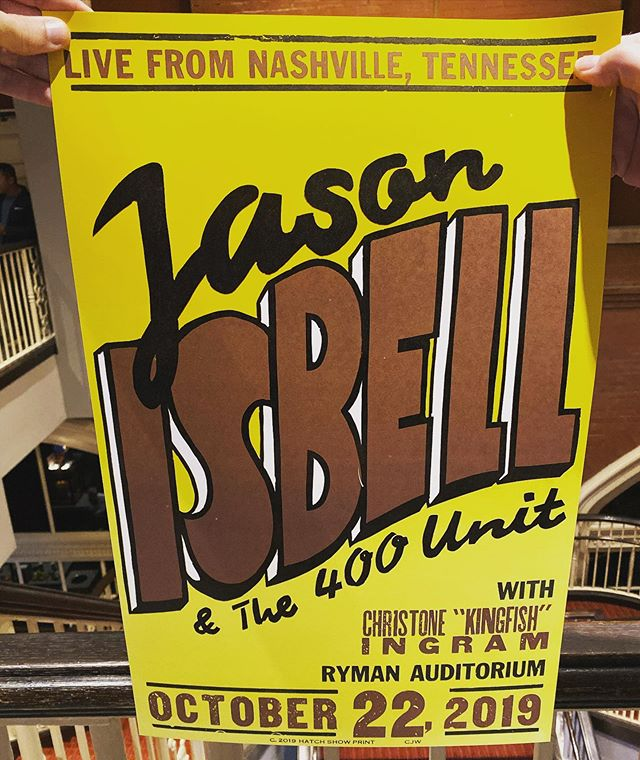 Poster from @hatchshowprint for @jasonisbell at @theryman tonight. Love Jason, and this place is undoubtedly my favorite building on the planet. #theryman #hatchshowprint #music #concert #livemusicrocks