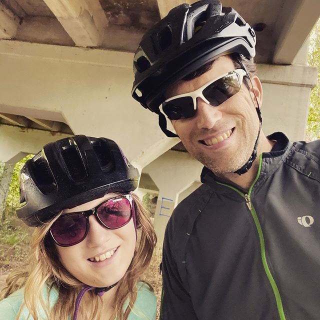 Got in a little shakeout ride with this cutie after my 20-mile run this morning. Unfortunately we had to take shelter under this bridge for a bit, because we got caught by an unexpected shower. #family #biking