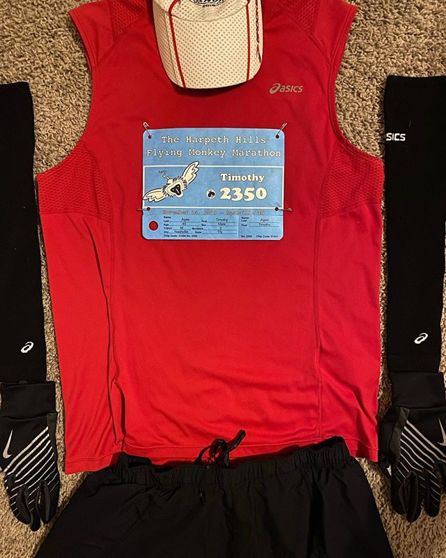 Flat Tim is ready for the 2019 Harpeth Hills Flying Monkey Marathon. #marathon #running #hhflyingmonkey