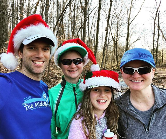 Spreading a little Christmas cheer on the trails in Edwin Warner this afternoon. #family #hiking