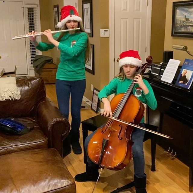 Tonight the girls gave us a little impromptu Christmas concert at our family gathering. #family #music #flute #cello @patrickagee @patsyglunt @oliviaagee