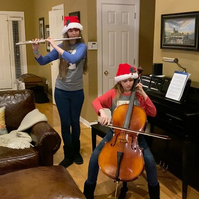 "Arrangement of ""Wizards in Winter"" by Quod Carmen Duo on Christmas Eve! #family #music #wizardsinwinter"