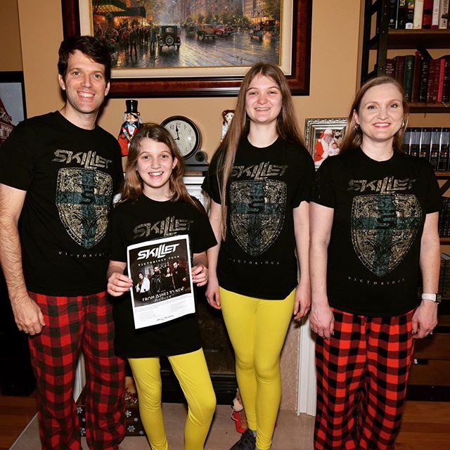 Santa brought Sara VIP Meet & Greet tickets to see her favorite band Skillet (@skilletmusic) in Huntsville and she is VERY Excited!! #family #music #skillet #skilletmusic @koreycooper @morrisonseth @johnlcooper @jenledger