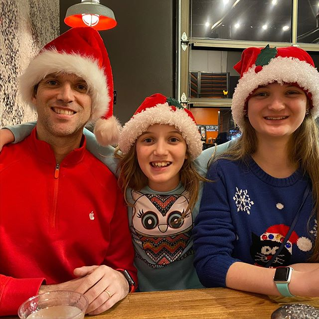 The best way to spread Christmas cheer is by wearing Santa hats at Blaze Pizza for all of to see! #family #pizza @blazepizza