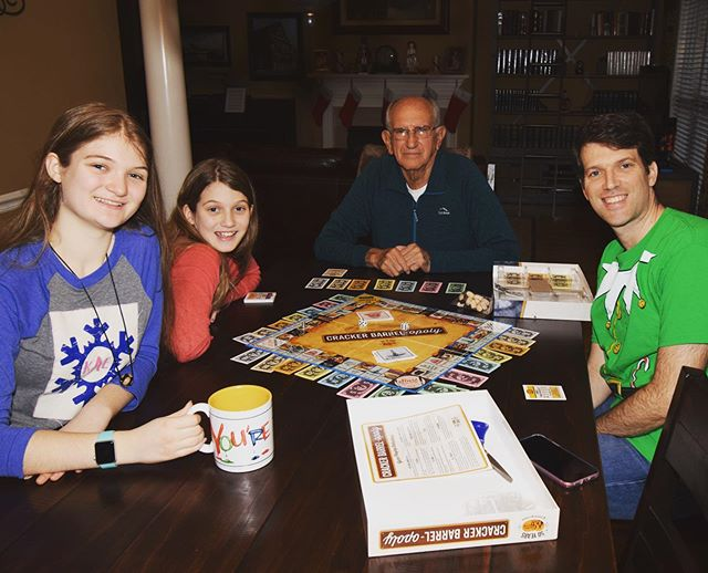 Cracker Barrel-opoly with Papa on Christmas Eve. #family