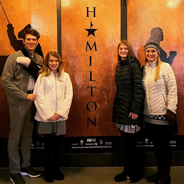 It took a lot of doing, but I was determined to accompany the family to see @hamiltonmusical tonight. This was Kate's present from Santa. #family #hamilton