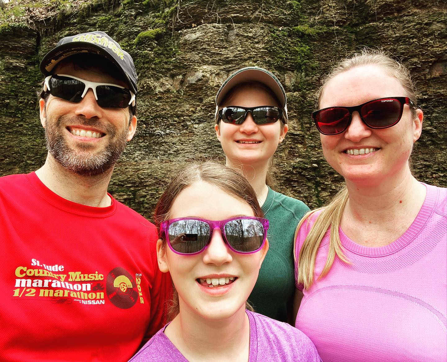 Got the family out of the house for a nice walk in Percy Warner. I love the shale rock cliffs on Shell Road (not a typo). #family