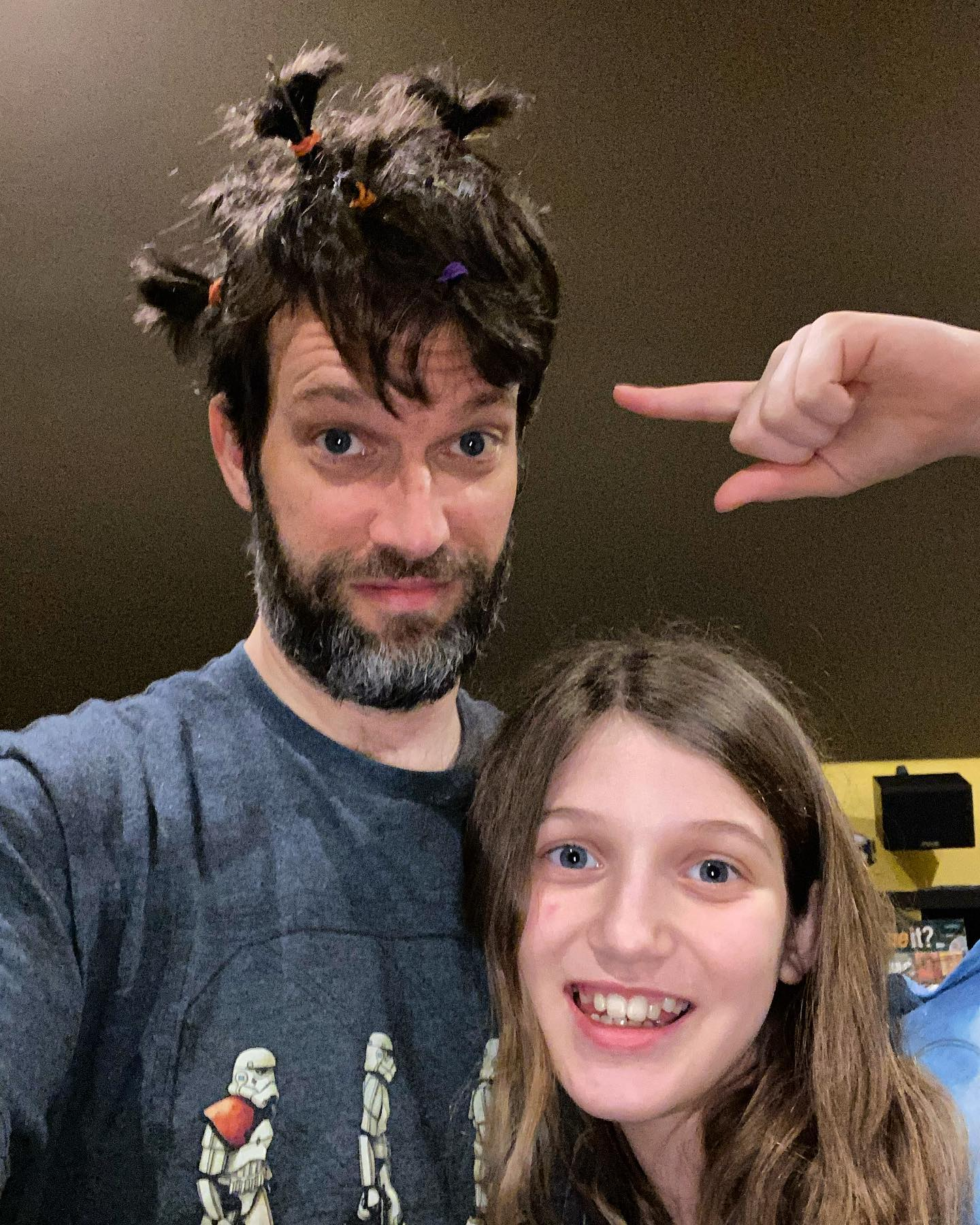 """Sara asked is she could """"style"""" my hair. This is what we got. #family #hairstyle"""