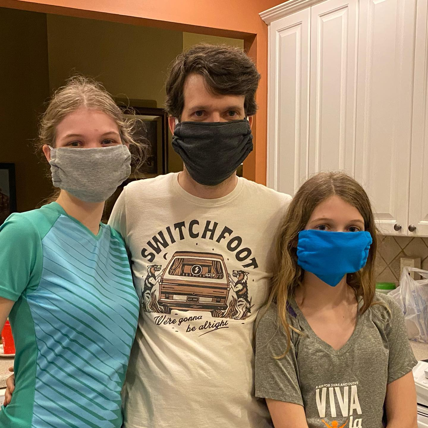 New masks made by Olivia using a 70-year-old Singer sewing machine. #family #covid19