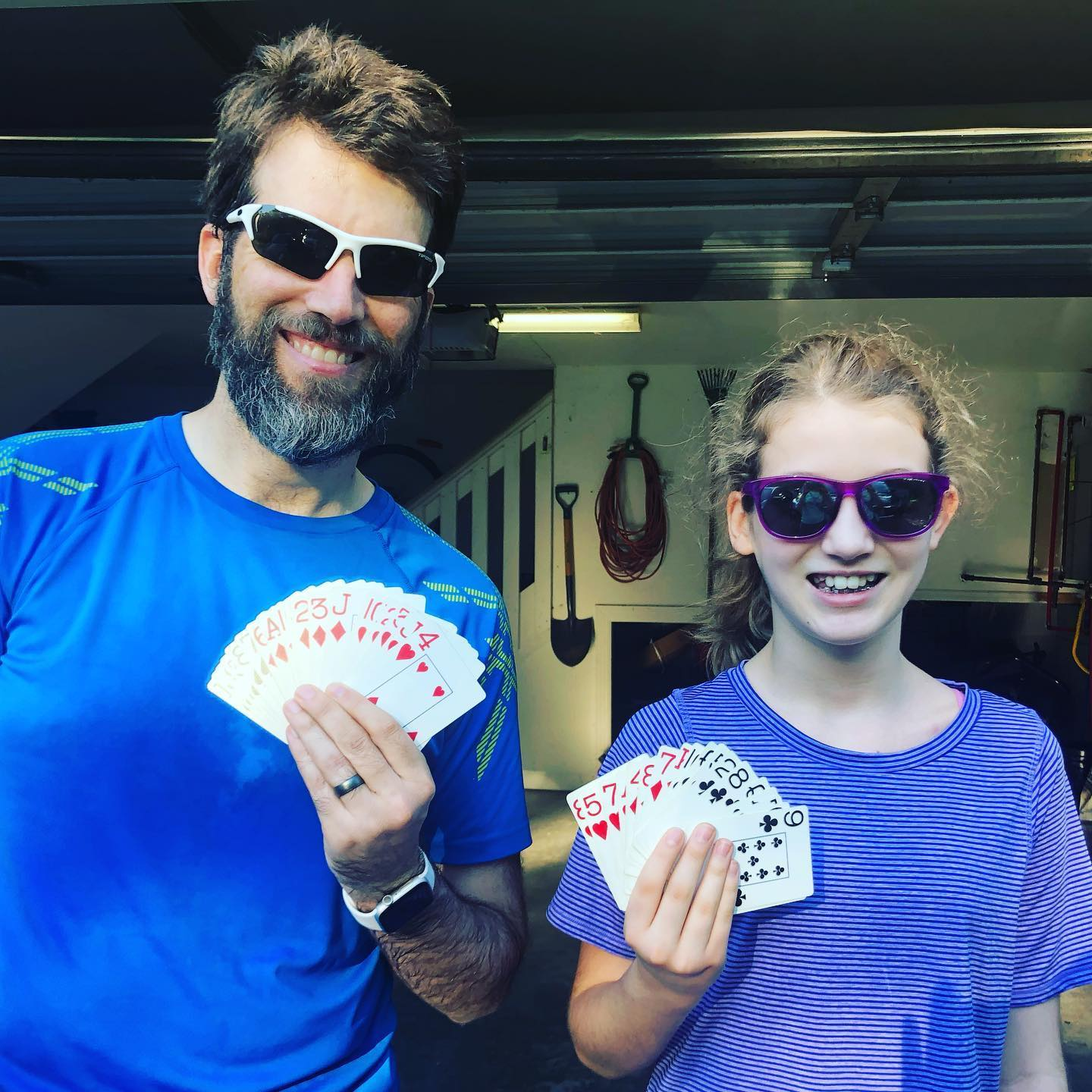 Sara and I did our deck-of-cards partner workout again today. Each person takes turns drawing a single card and you work through the entire deck. The suit determines what exercise you do and the number defines the reps. In total Sara did 38 sit-ups, 67 pushups, 47 squats, and 43 burpees. I did 56 sit-ups, 27 pushups, 49 squats, and 51 burpees. As always, this is a really fun way to workout. #family #workout