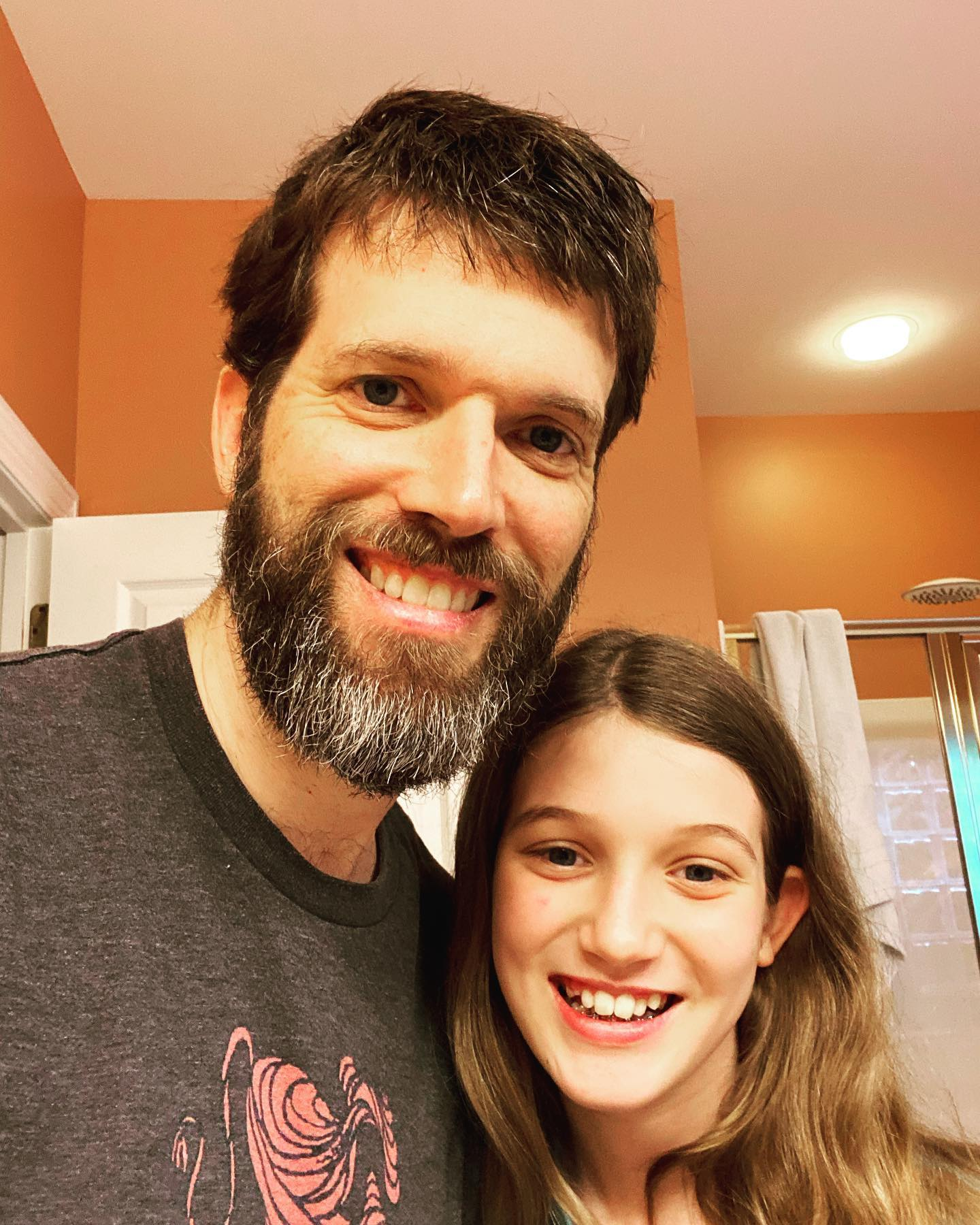 First beard trim in 100 days. Sara even helped out. #family #beard