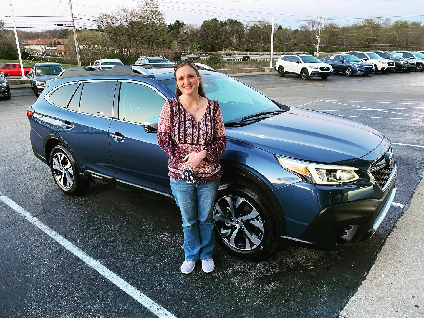 First ever new car for @oliviaagee ... a 2021 Subaru Outback in Abyss Blue Pearl. She's pretty excited. #family #Subaru #subaruoutback