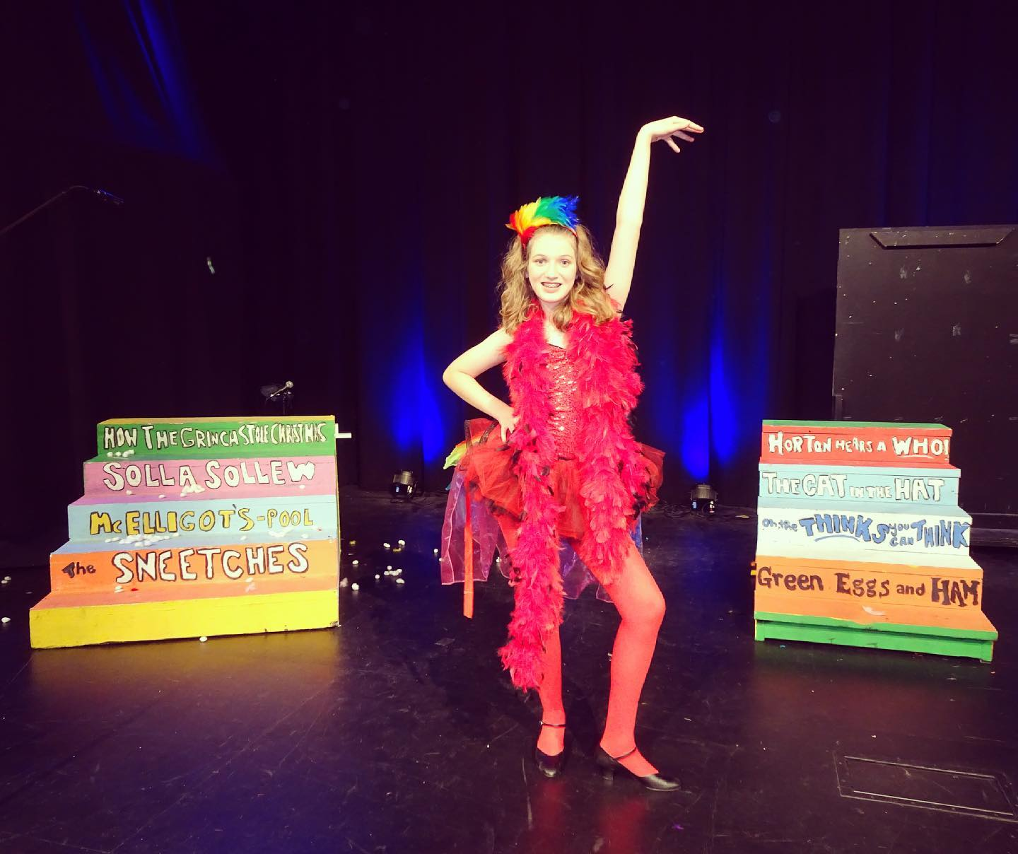 """Today we got to see Sara as The Amayzing Mayzie in Centre Stage Productions' presentation of """"Seussical Jr."""" - She worked really hard and did a fantastic job. We are super proud! #musicaltheatre #family"""
