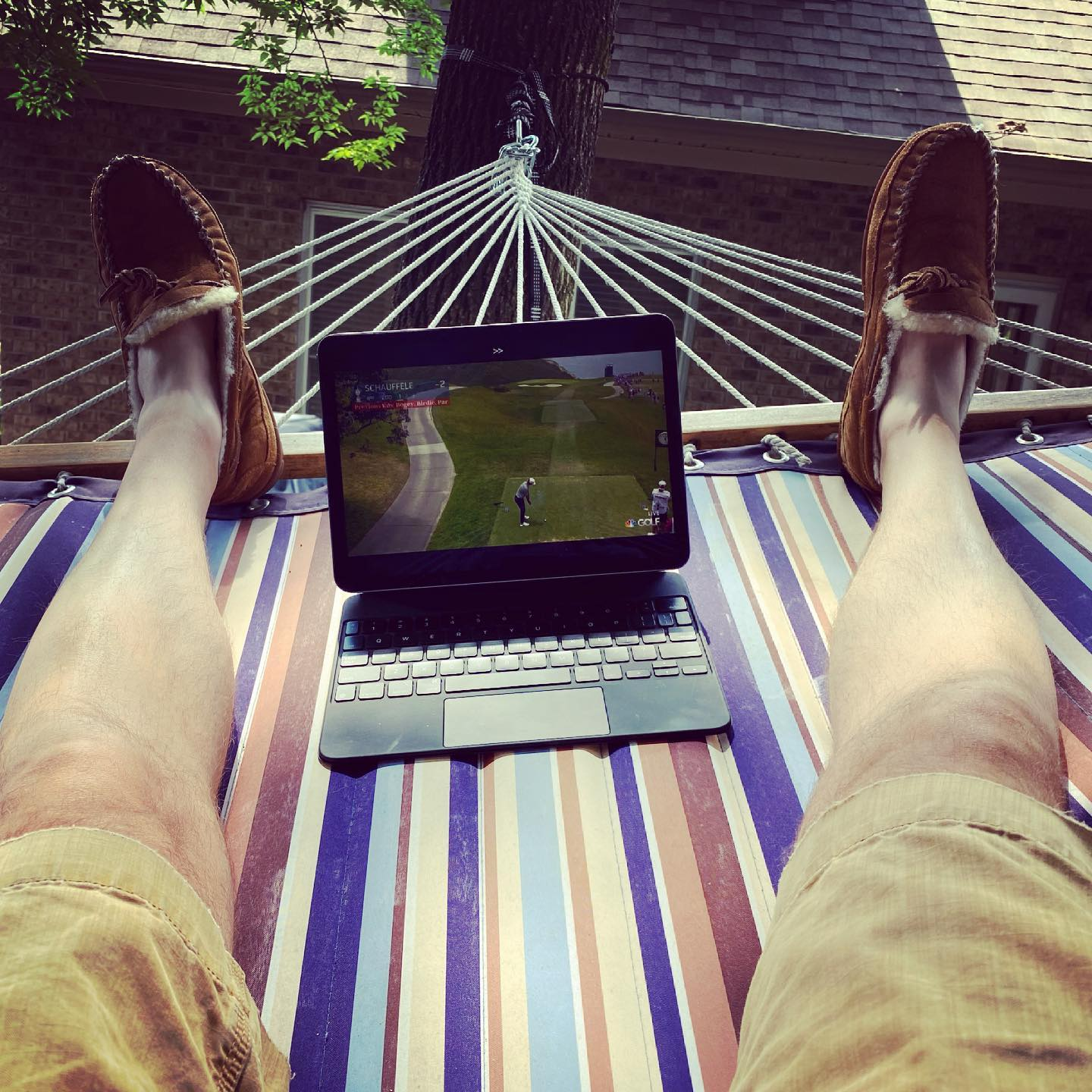 Father's Day afternoon … Hammock + Fuzzy Slippers + U.S. Open. #fathersday #hammock #fuzzyslippers