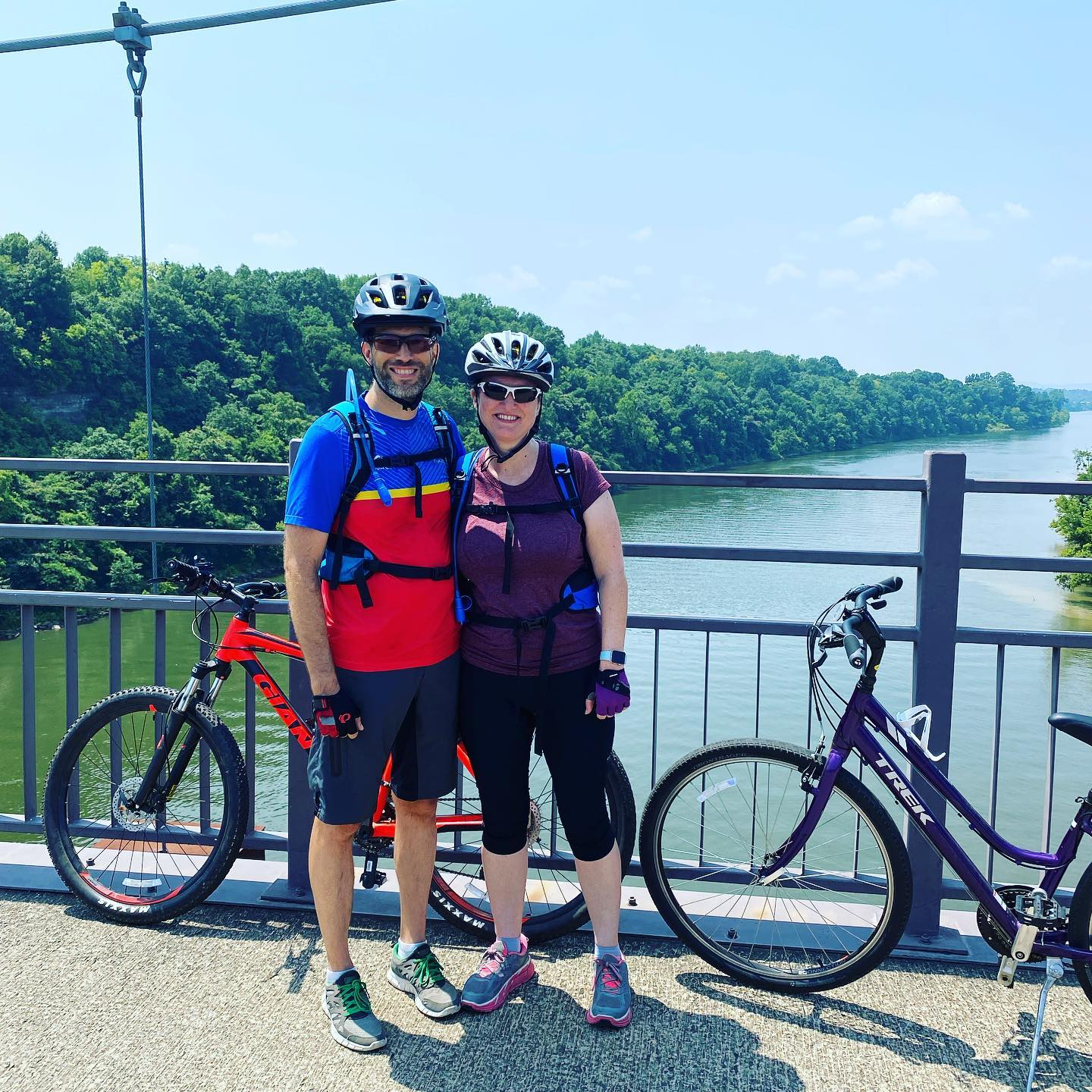 Biking with my bride while the girls were at a youth group event. #family #biking